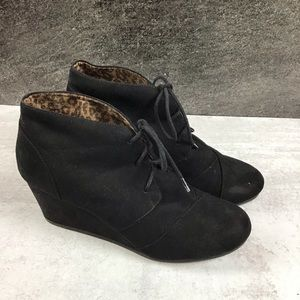 Maurices Black Wedge Booties Penny 10 Faux Suede